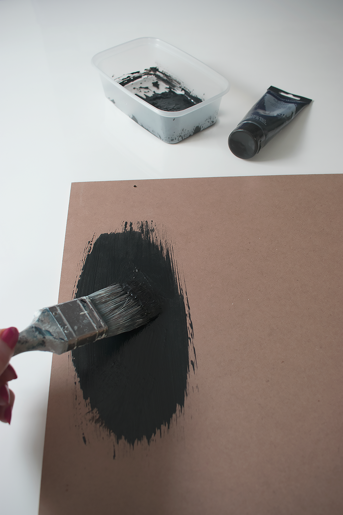 Paint MDF board Black for DIY wall art