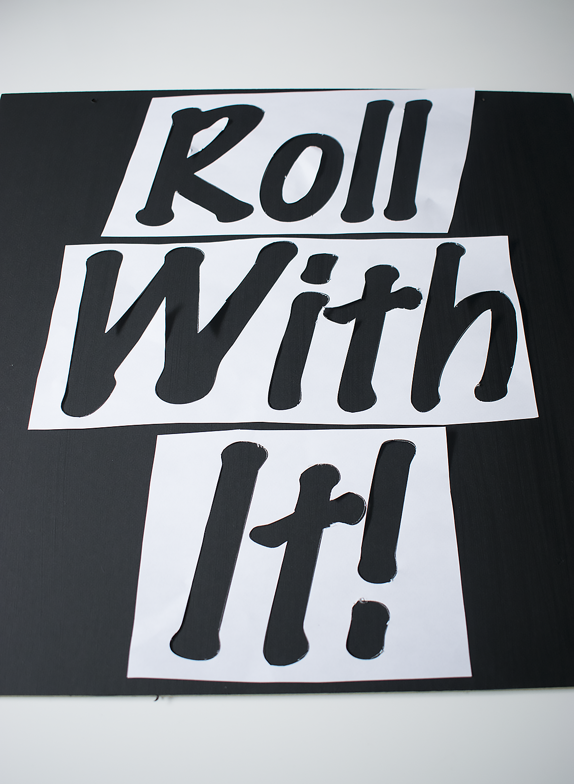 roll with it wall art stencil