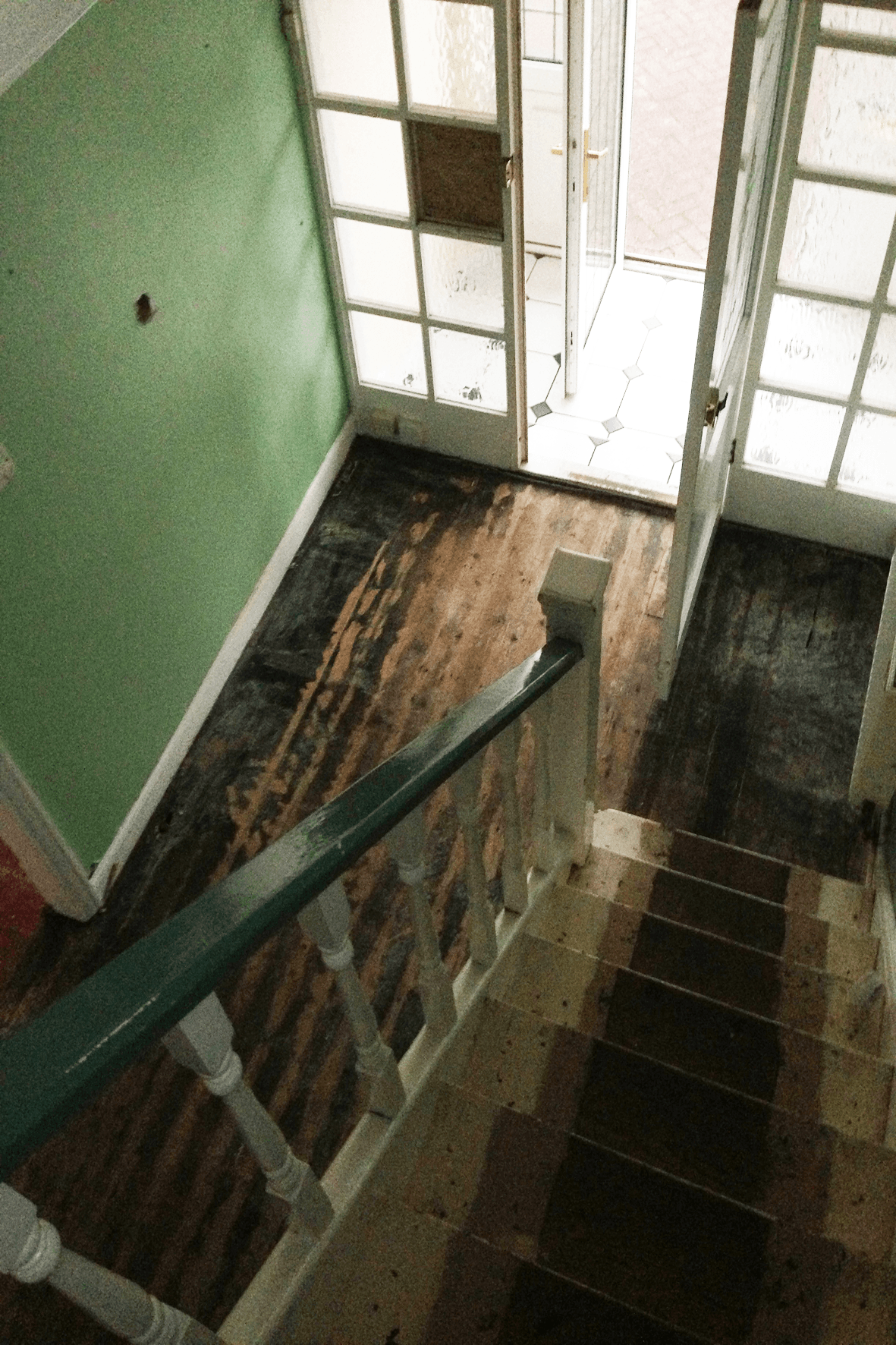 Hallway from Above Before