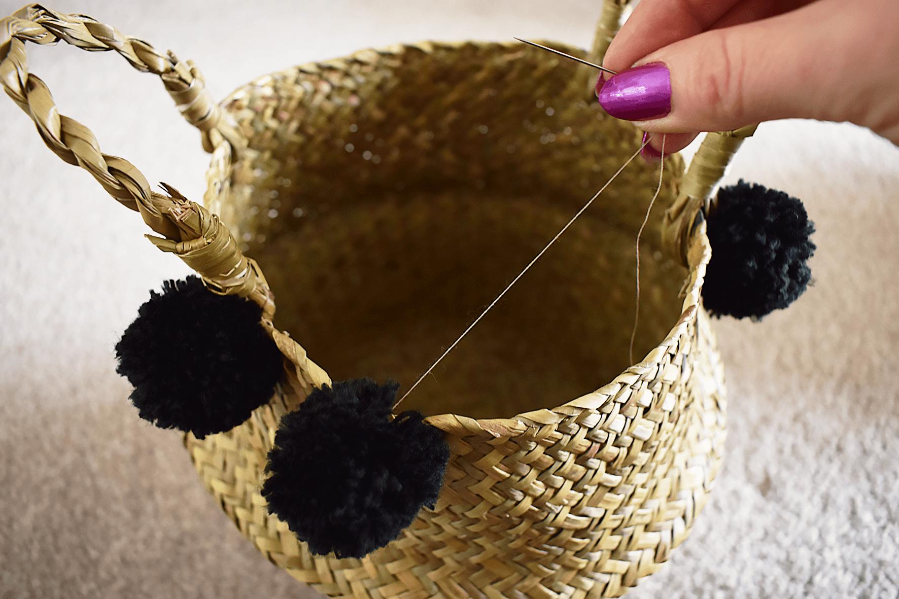 DIY pom pom belly basket