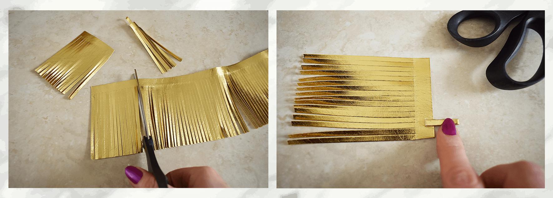 DIY gold tassels for belly basket