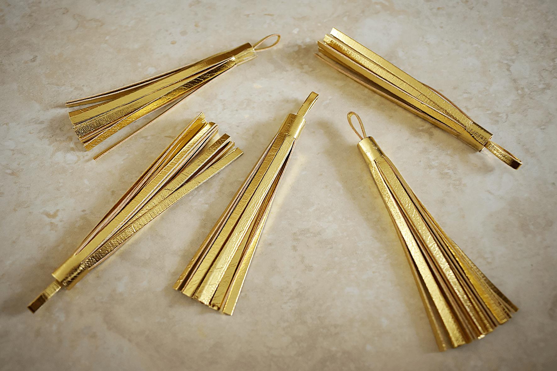 gold tassels for DIY belly basket