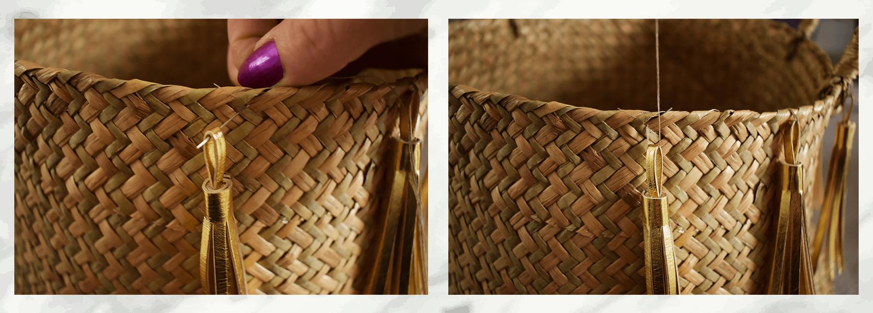 DIY gold tassel Belly basket