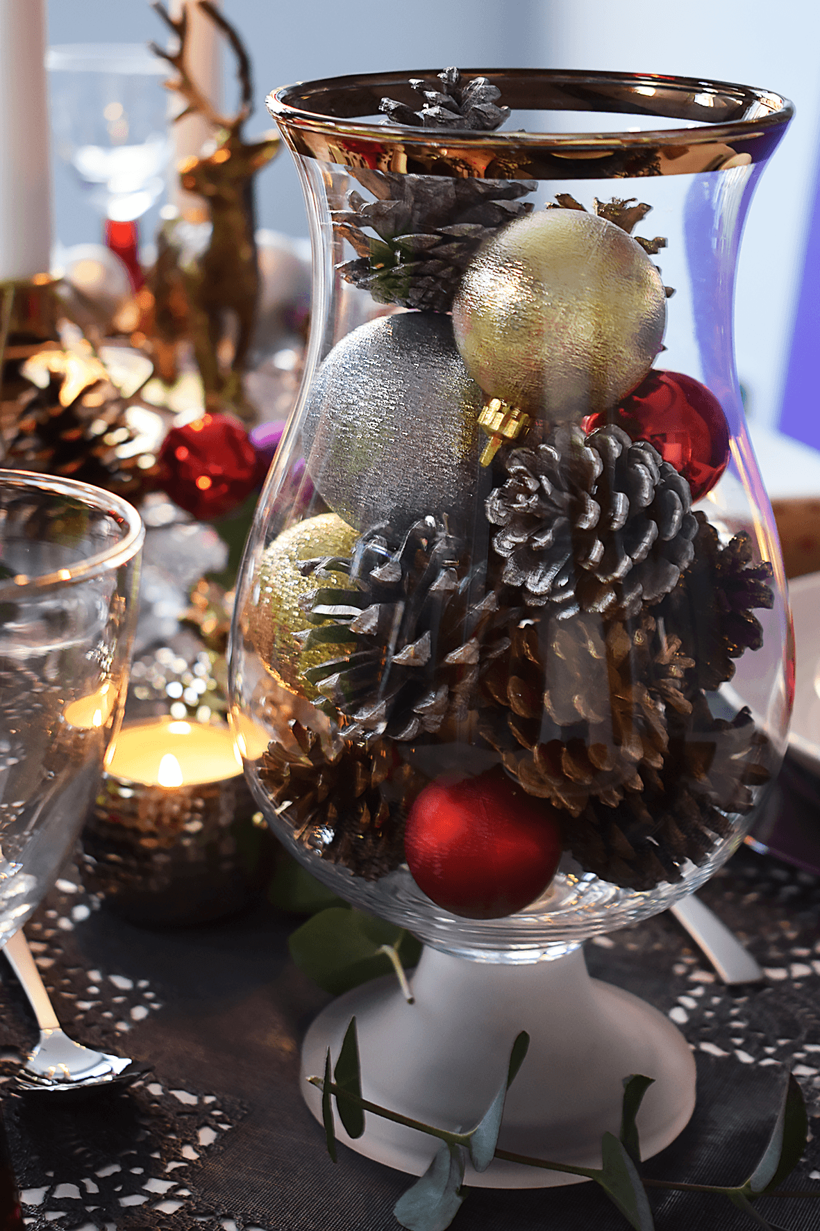 Gold Rim Christmas Vase
