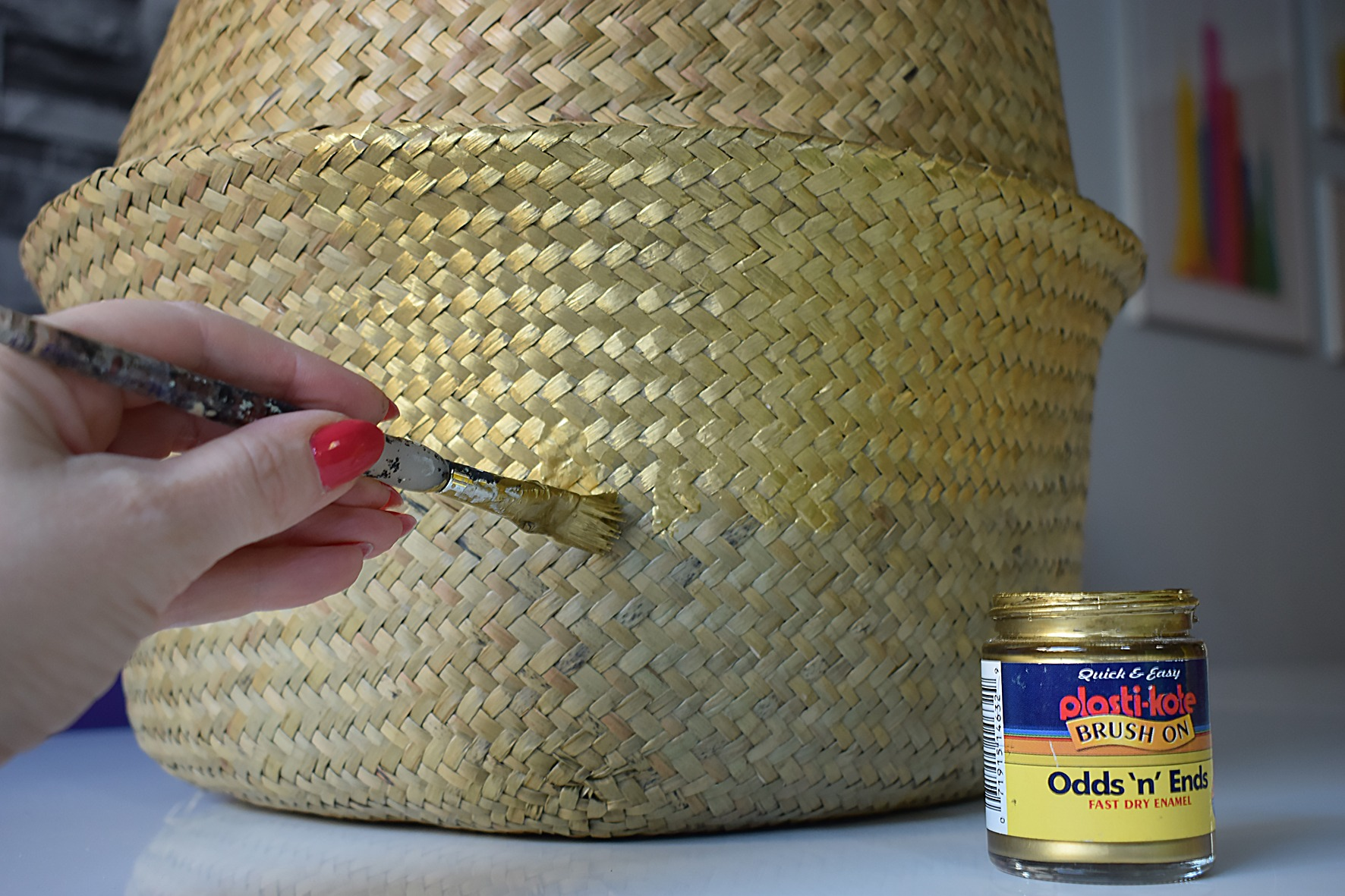 DIY gold painted Belly Basket