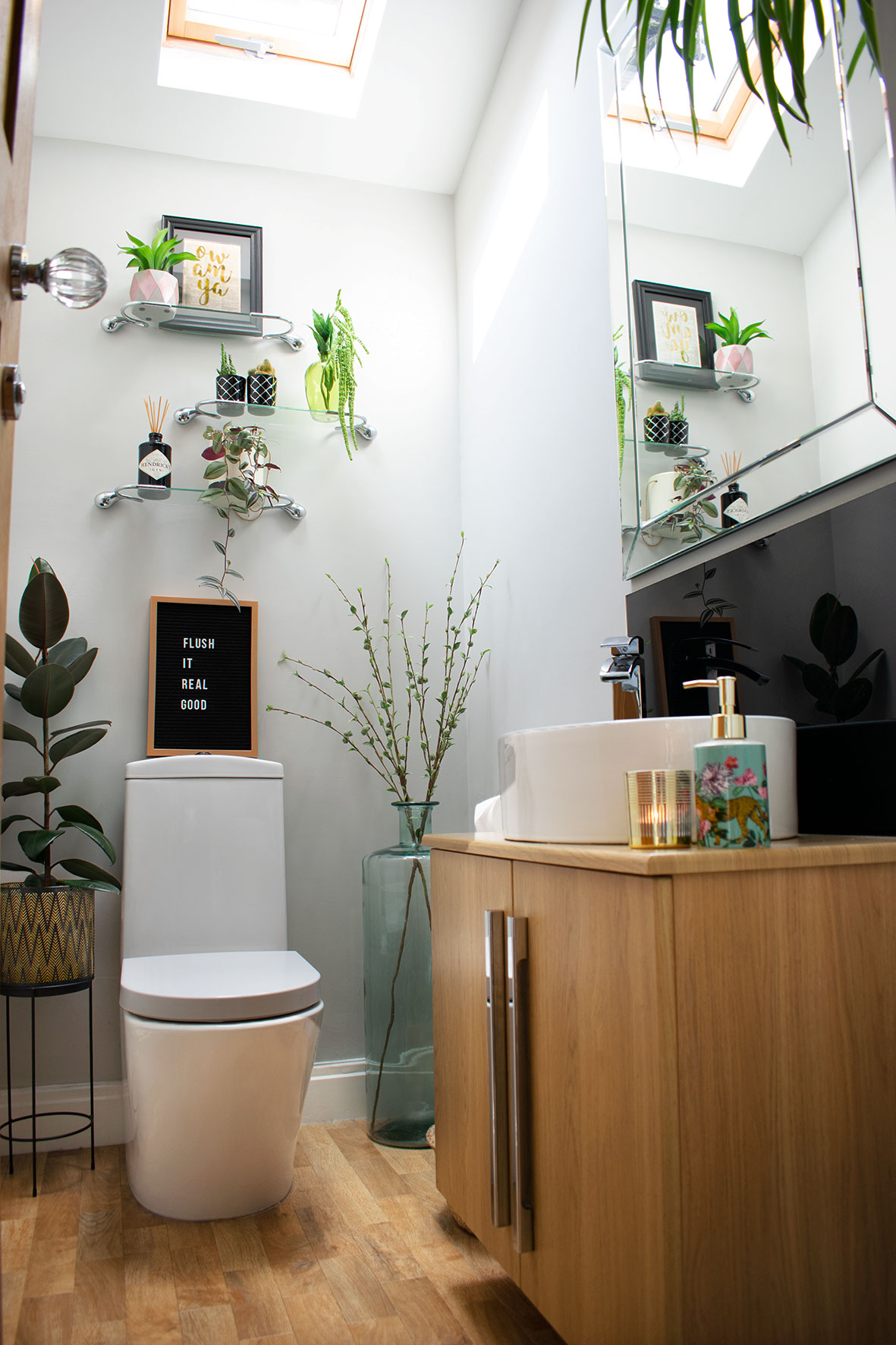 Quirky Downstairs Toilet Makeover Teal Leopard Decor Caradise