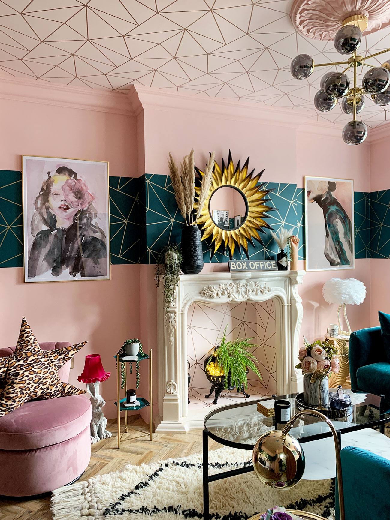 Glamorous Eclectic Living Room Renovation Using Colour And Pattern Caradise